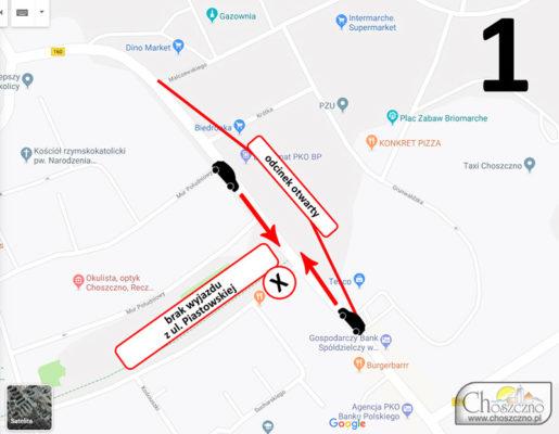 mapa remontowanych choszczeńskich dróg