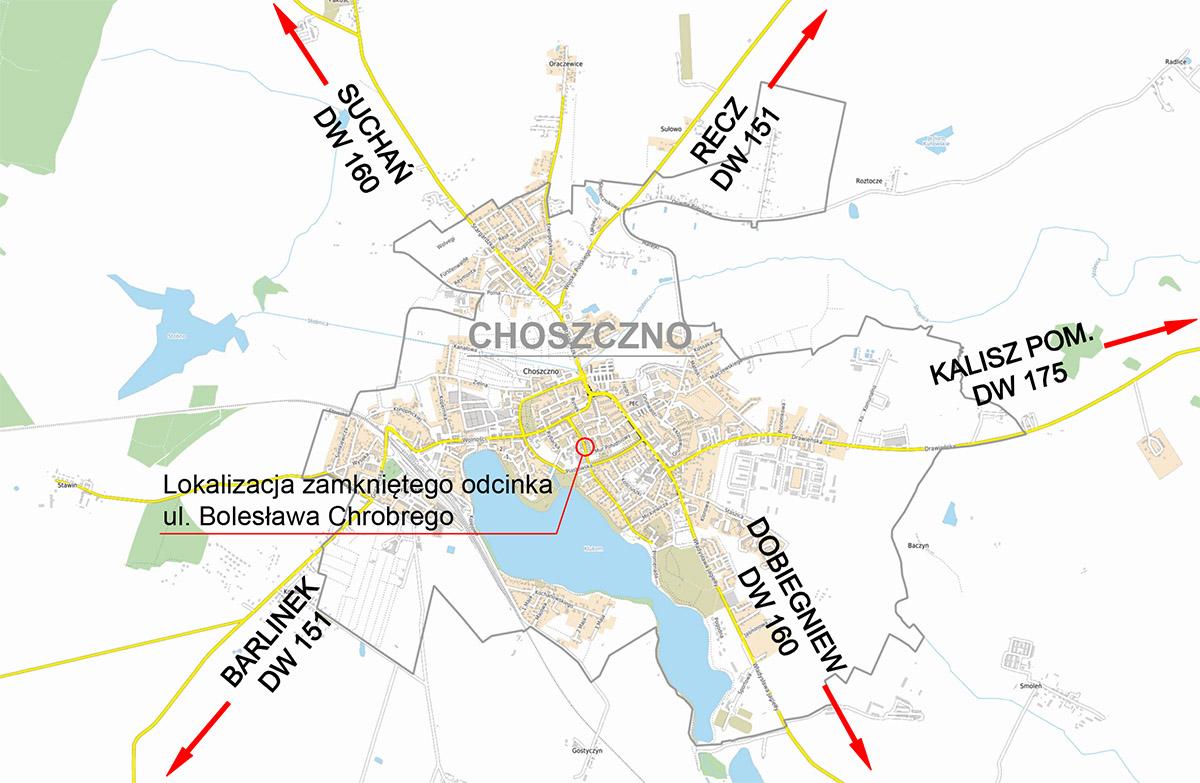Mapa ul. Chrobrego