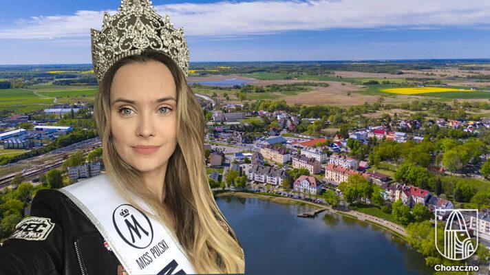 Małgorzata Molik Miss Polski Pomorza Zachodniego na tle panoramy Choszczna