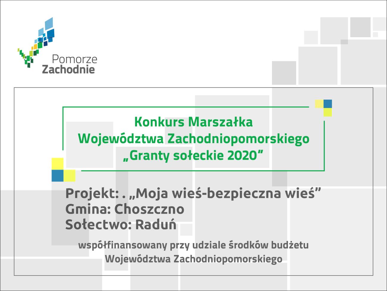 tablica grant sołectwo Raduń
